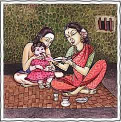 annaprasana (literally, feeding food) ritual, which takes place when a child is six months old, is the first time the child eats solid food, in India, rice. A few grains of rice mixed with ghee are fed to the infant. This is an important ritual among all sections of Hindus.