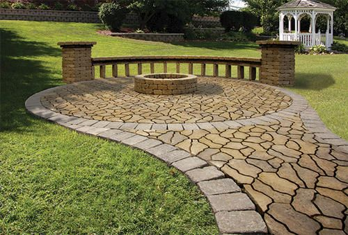 Backyard Nature Company : backyard living space flagstone patio with fire ring from menards sku