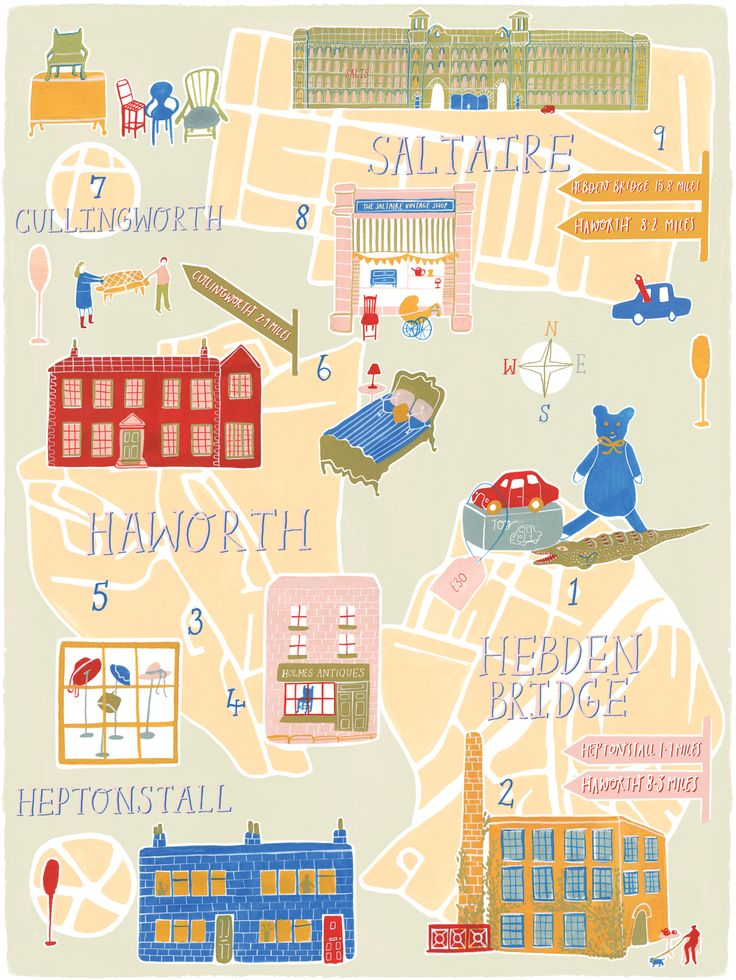West Yorkshire map - by Polly Fern for  Homes & Antiques magazine.