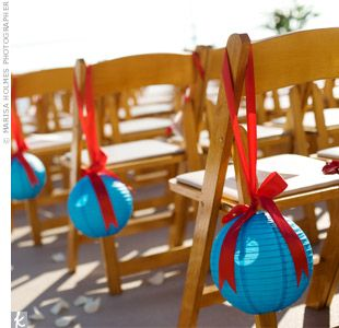 paper lanterns on chairs