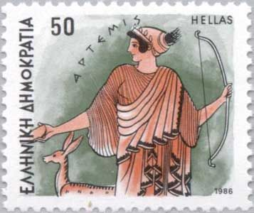 Greek Stamp with a depiction of Artemis