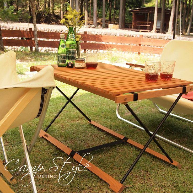 DOOGOO×OUTINGロールトップテーブルキャンプギアコンパクト木製折り畳み