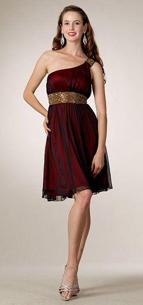 Red/Black Overlay Knee Length Dress Dinner 1 Shoulder Bolero Jacket