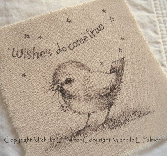Original Pen Ink on Fabric Illustration Quilt Label by Michelle Palmer Bird Feathered Friend Baby Sparrow Star