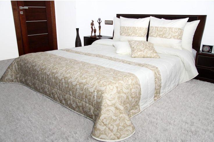 Přehoz na manželskou postel krémově béžové barvy