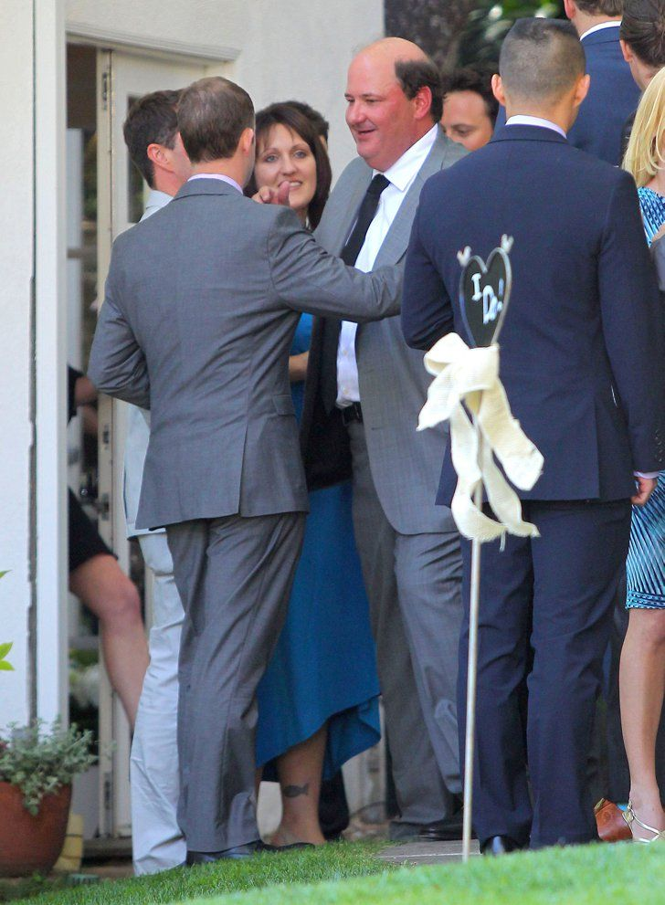 Pin for Later: The Office Stars Reunite For a Very Special Wedding  Brian Baumgartner greeted a guest at his wedding.