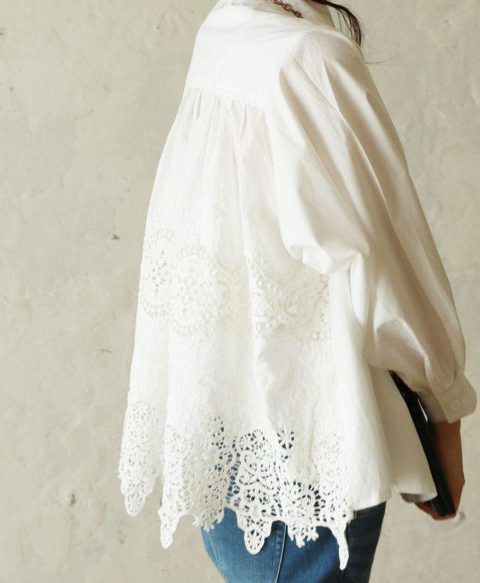 【楽天市場】【再入荷♪5月15日12時&22時より】(ホワイト)「french」後ろレースのふんわりシャツトップス:cawaii