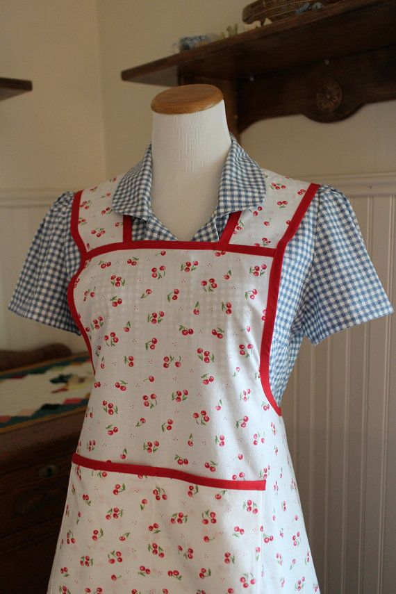 Cherry Print Red and White Vintage Style Apron -Ready to Ship