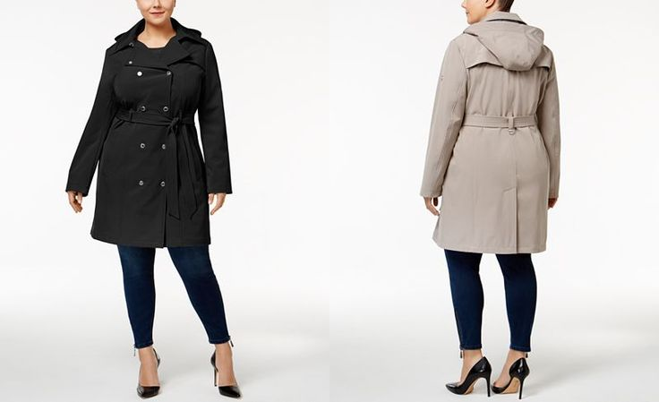 $120; Calvin Klein Plus Size Hooded Softshell Trenchcoat - Coats - Women - Macy's