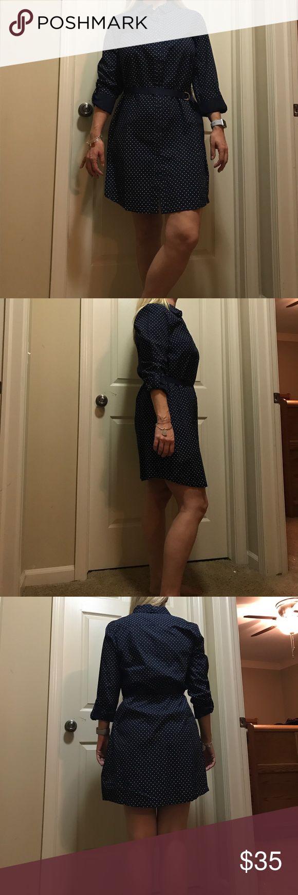 Tommy Hilfiger button down long sleeve dress Cute and lightweight navy long sleeve button down polka dot dress. Belted waist detail to bring out the best assets! Tommy Hilfiger Dresses Long Sleeve