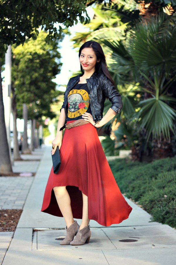 Dance with me~H Gun and Roses shirt & Dusty red low-high skirt