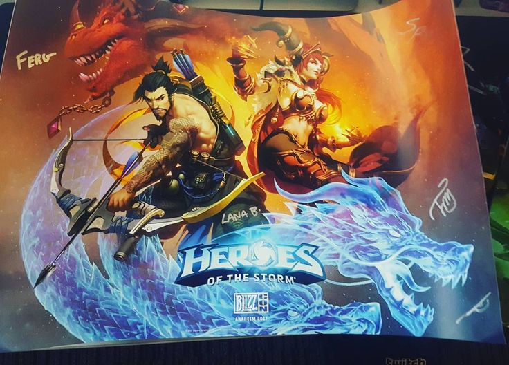 A friend if mine at #Blizzcon hooked me up with an awesome #heroesofthestorm poster he got signed and everything!   #gamer #gaming #blizzard #blizzardentertainment #twitch #heroesofthestorm #hots #battlenet #hanzo #overwatch #alexstraza #worldofwarcraft #dragon #ninja