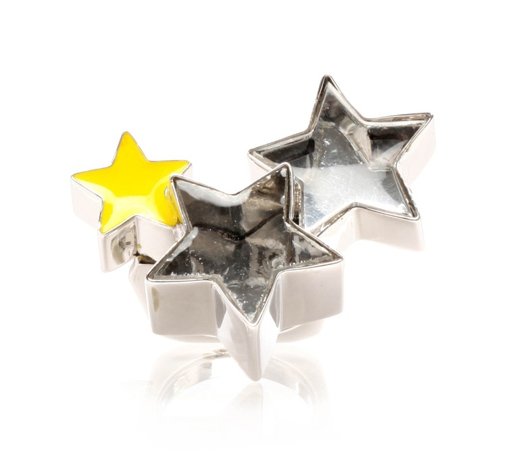 Moonwalk ring by Delfina Delettrez. Silver ring with star shaped mounted glass stones.