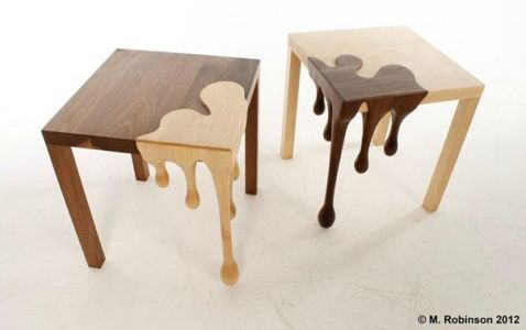 Drip Drip Love these two tone tables from Mathew Robinson called Fused.:  Boards, Woods Tables, Tables Design, Bright Color, Fusion Tables, End Tables, Bedside Tables, Dining Tables, Matthew Robinson