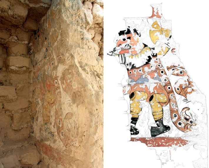 A newly excavated figure (left) and a watercolor of the figure (right) at Pañamarca show one of a pair of supernatural combatants. The second figure is likely hidden behind the adobe bricks visible at the left of the image.