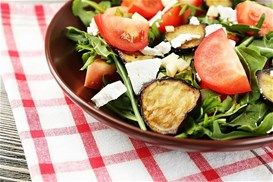 Arugula salad with grilled eggplant, tomato and feta