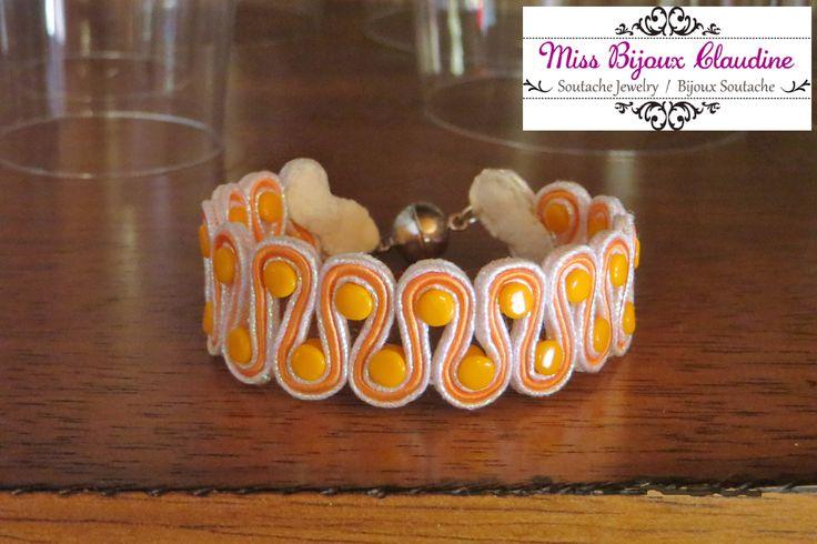 Soutache Bracelet with pellet beads - Clementine - by Miss Bijoux Claudine