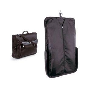 Bolsa para trajes plegable con bolsillo delantero y asa ajustable.