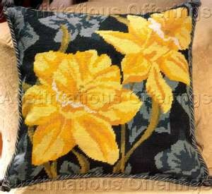Anchor Cushion Spring Floral Needlepoint Pillow Kit Daffodil