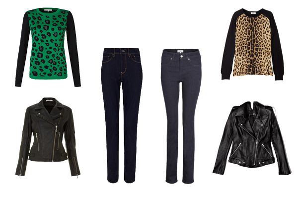 autumn pieces, animal print top, skiny jeans, biker jacket
