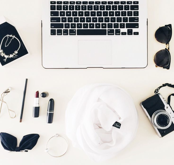 Black and white flatlay #fujifilm #macbook #pandora #maccosmetics #classiccrownhijab #hijab