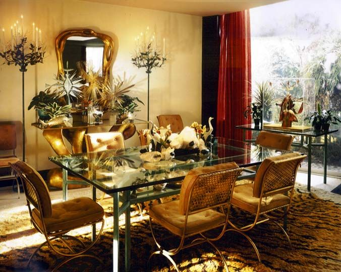 Perfect Tony Duquette dining room of the Dumon residence in Bel Air