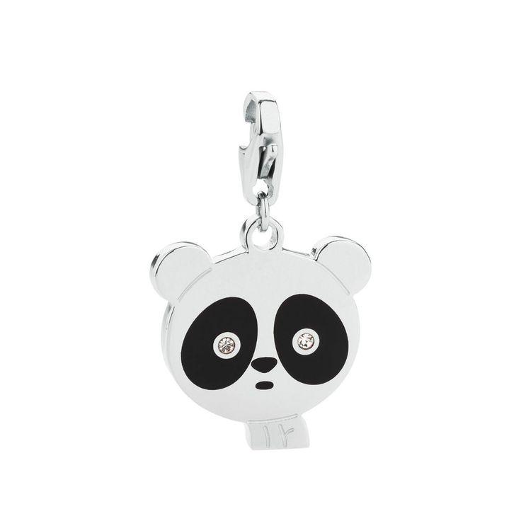 S Agapò Happy ciondolo panda in acciaio, smalto nero SHA112 GioielliVaelotta