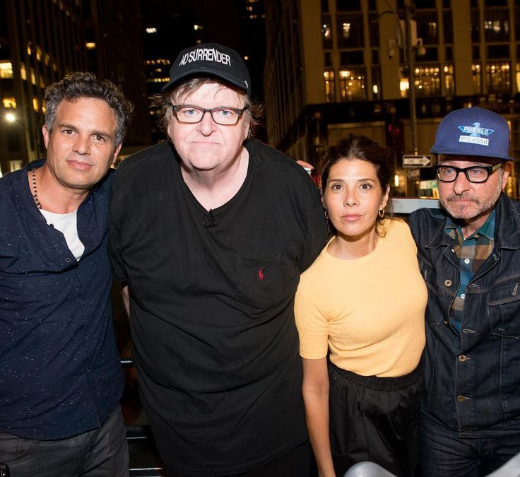 """Last  night, Michael Moore and Mark Ruffalo led a protest outside Trump Tower in NYC: """"We're here today to commemorate a life of an American that was killed by a Nazi on American soil. Let's say her name so Donald Trump can hear what's happened here."""""""