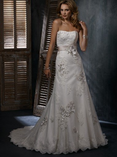 Aline Tulle Gown With Lace Applique [WG1201] - $233.00 : LuxeBlue Quality Discount Wedding Dresses & Formal Gowns, Worlds leading supplier of affordable fashion for Wedding dresses, Bridal gowns and discount formal wear. Safe & Fast delivery world wide.: Ideas, Wedding Dressses, Lace Wedding Dresses, Sottero Geneva, Weddings, Gowns, The Dresses, Maggie Sottero, Wedding Dresses Style