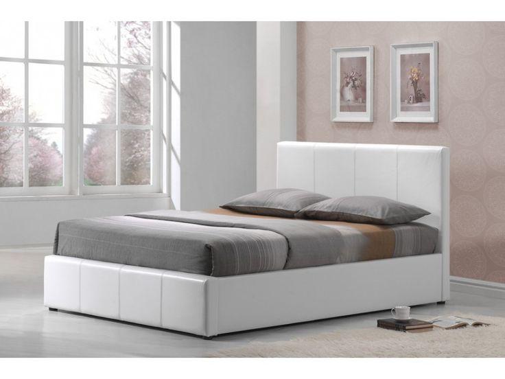 Lit coffre TREMPLIN - 180x200cm - Simili - Blanc