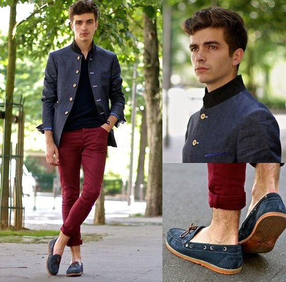 Cavalier Bleu Mao Collar Jacket, Dries Van Noten Sponge Polo, Asos Skinny Jeans, Pepe Jeans Two Tone Boat Shoes