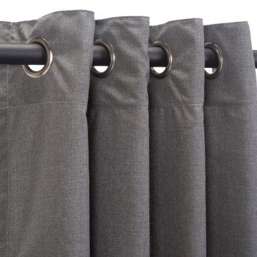 Cast Slate Sunbrella Outdoor Curtain Panel