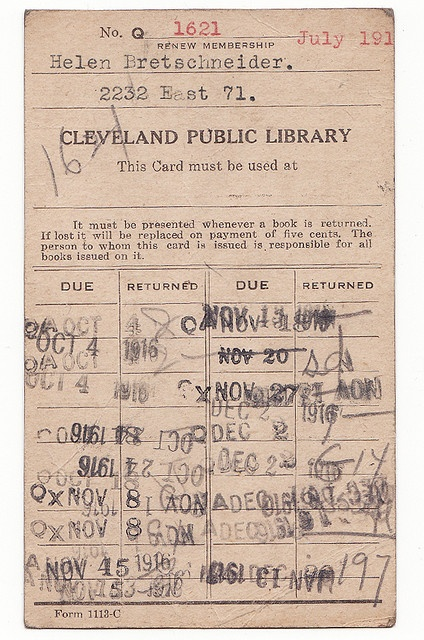 library card - 1916