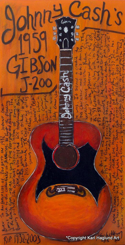 Johnny Cash Gibson J 200 acoustic guitar 11x17 by KarlHaglundArt, $20.00