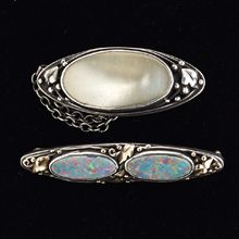 Pearl & Opal Brooches - Australian Arts and Crafts, Rhoda Wager school