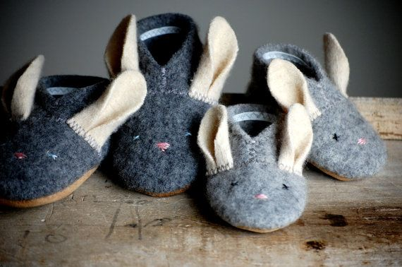 Wooly Baby Thumpers Bunny Shoes for Baby Easter Shoes by WoolyBaby, $40.00