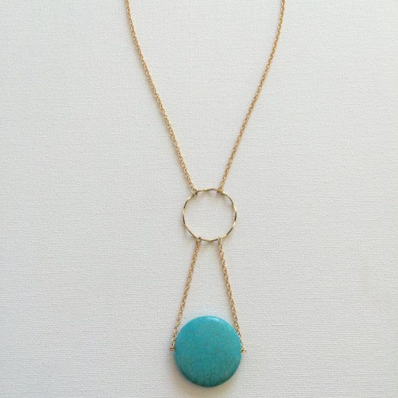 Large turquoise statement necklace gold and by PERCIVALandHUDSON