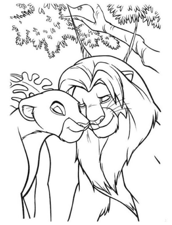 Simba And Nala In Love The Lion King Coloring Page Lion Coloring