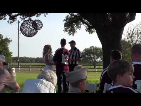 The ultimate Aggie wedding, complete with groomsmen in 12th Man jerseys and the drum cadence of the Fightin' Texas Aggie Band!  ~ Check this out too ~ RollTideWarEagle.com sports stories that inform and entertain and Train Deck to learn the rules of the game you love. #Collegefootball Let us know what you think. #Aggies