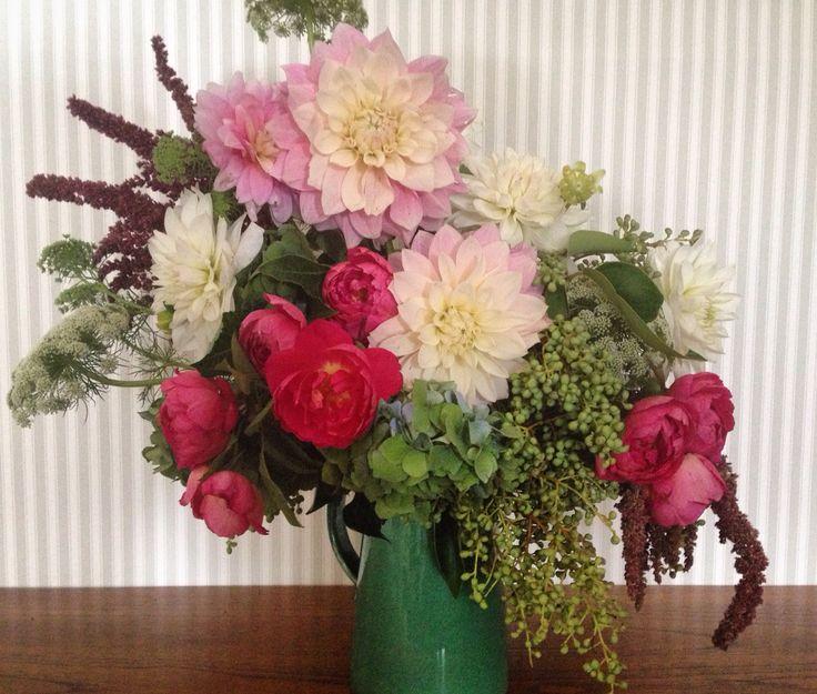 A little colour to brighten this grey day #dahlias #roses #hydrangeas #florosaria #flowersbyflorosaria #happyeaster #sydneyflorist #weddingflowers #sydneyweddings #rustic #romantic #wild #freshflowers #sydneyflowers #romance #flower #flowerarrangements