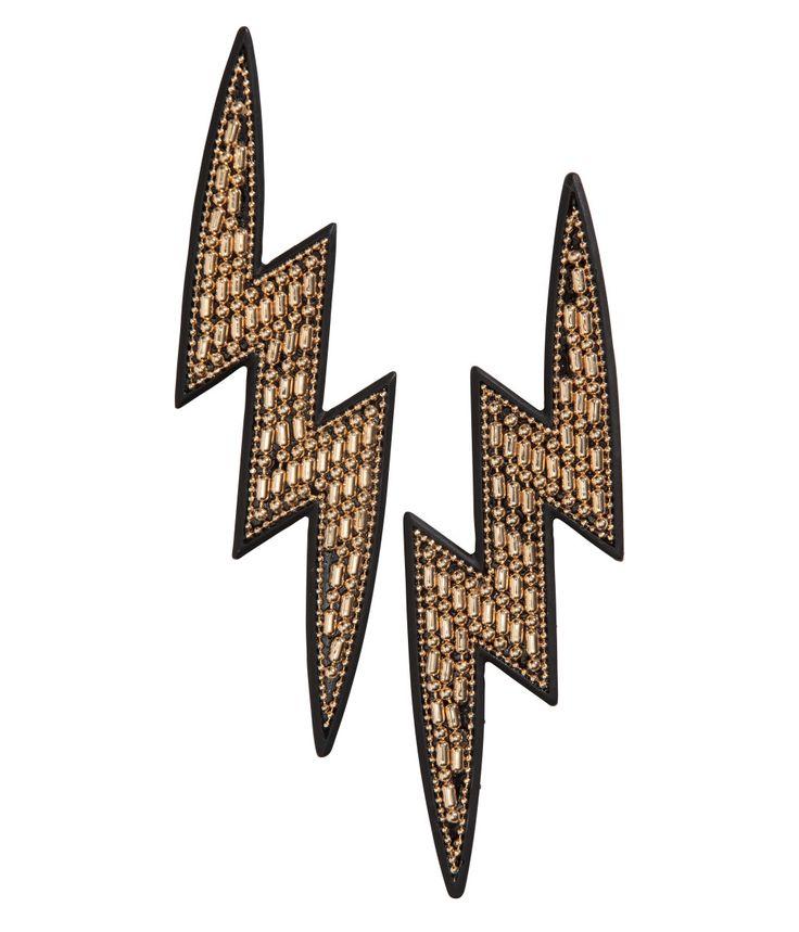 Lynformede øredobber   Gull/Sort   Dame   H&M NO