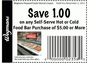 Wegmans Coupon:  $1 off any Self-Serve Hot or Cold Food Bar Purchase of $5 or More!