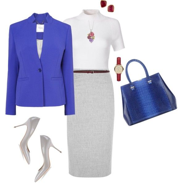 Blue Blazer Skirt Set (2) by tgtatiana on Polyvore featuring polyvore, fashion, style, L.K.Bennett, Altuzarra, Casadei, Victoria Beckham, Burberry, Mia & Beverly, Judy Geib and Lanvin