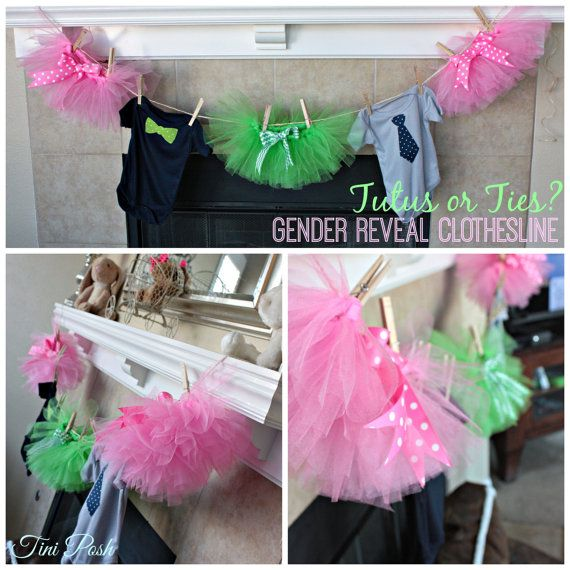 Tutus & Ties Gender Reveal or Surprise Baby Shower Clothesline (Pink, Navy, Grey, and Green)