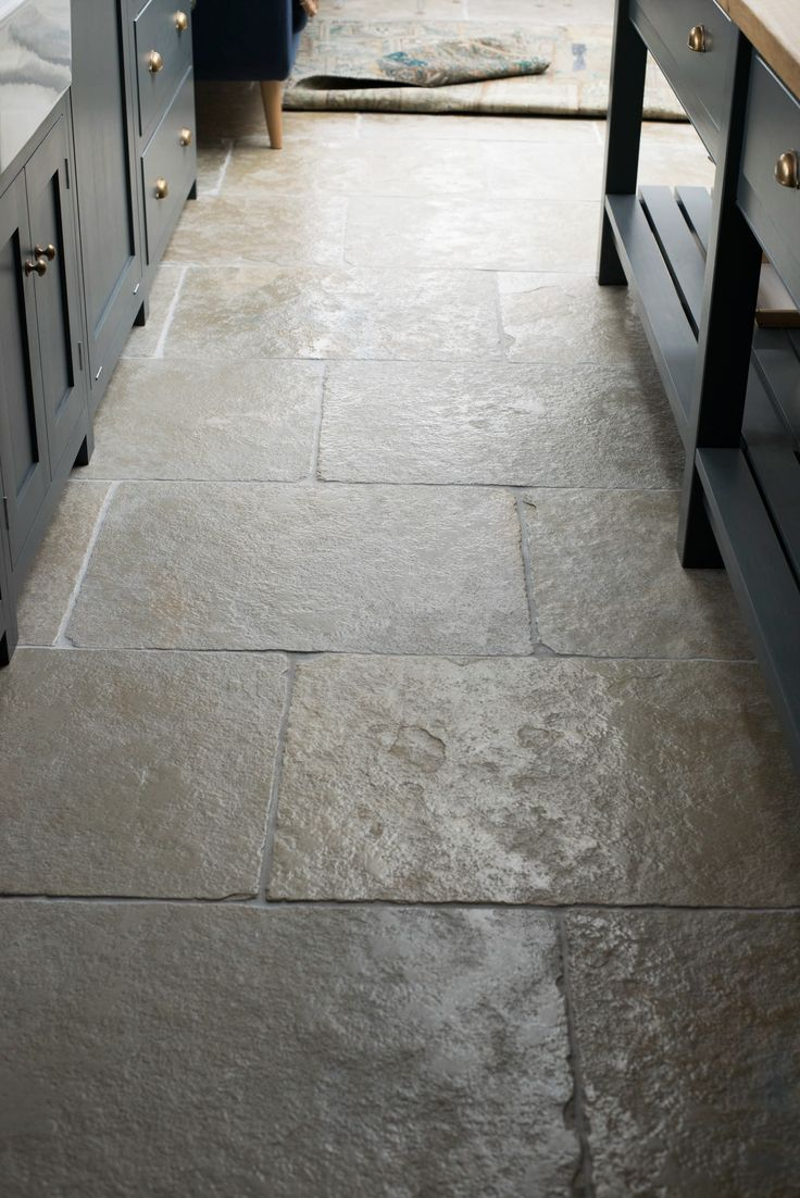 A close up of the Umbrian Limestone laid in 700x560 in The Hampton Court Kitchen.