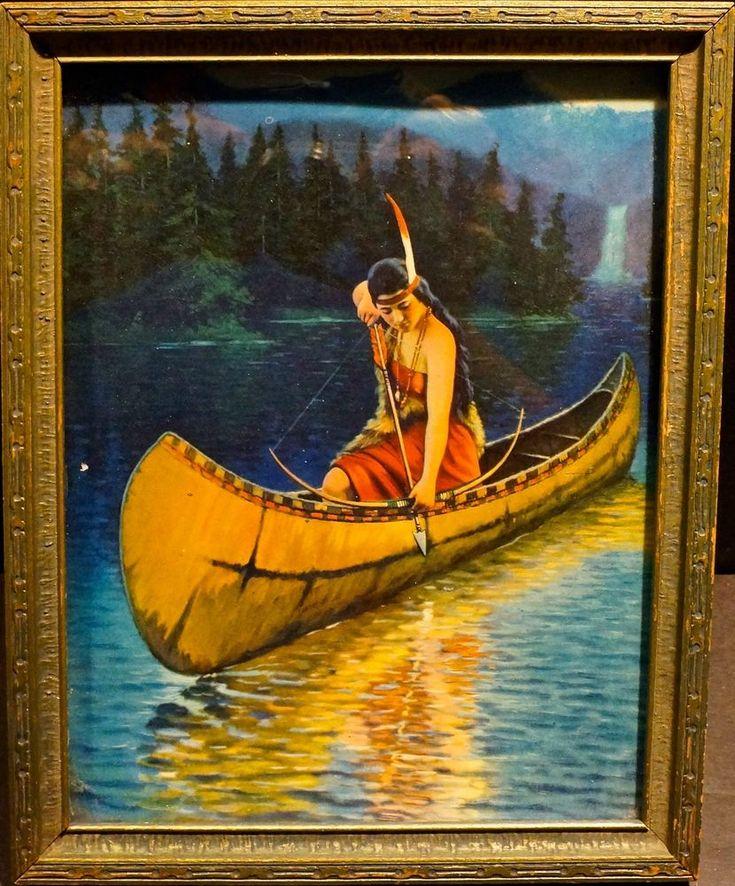 Original vintage indian maiden squaw print in frame native ...