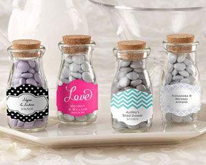 """""""Vintage"""" Personalized Milk Favor Jar (Wedding) (Set of 12)"""