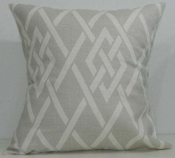 New 18x18 inch Designer Handmade Pillow Case in pale grey and white lattice