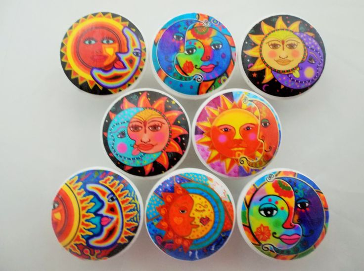 "Набор из 8 ""Солнце и Луна"" - ручки шкафа  _  Set of 8 Bright Sun and Moon Cabinet Knobs"