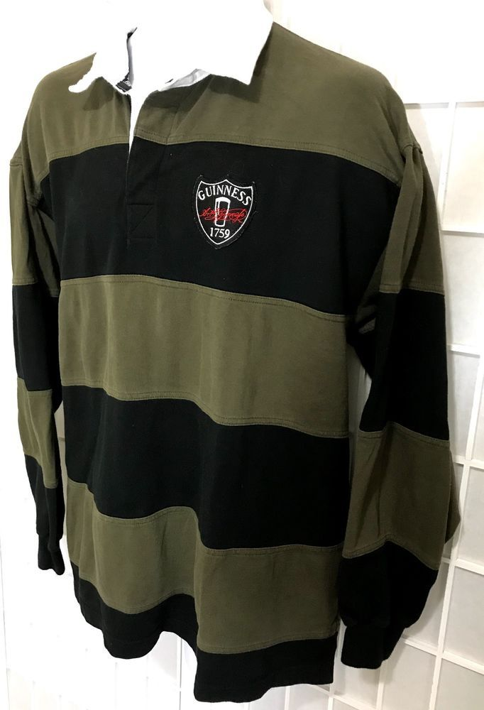 87563f4bc Guinness Rugby Polo Shirt Sz XL Patch Crest Striped Long Sleeve Jersey   Guinness  PoloRugby